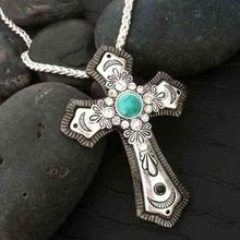 Ladies' Antiqued Silver Cross with Turquoise & Rhinestone Center