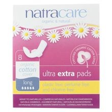 Natracare  Ultra Extra Pads W/wings - Long - 8 Count
