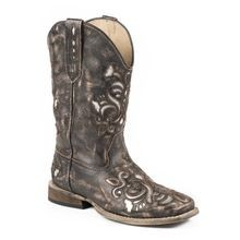 Little Girls' Western Square Toe Leather Fashion Cowgirl Boot
