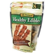 Healthy Edibles Dog Bone Bacon Chews in Petite, 8 Pieces