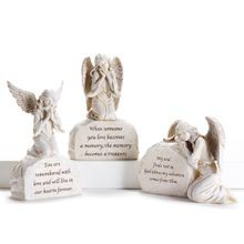 3 Assorted Designs Angel Statuary W/Message Stone