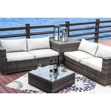 Festival Depot Hermosa 4 Piece Deep Seating Group with Cushion