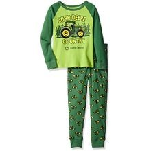 Little Boys' Light Green Tractor Print Pajama Set