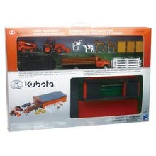 Kubota Farm Vehicles with Machine Shed Playset
