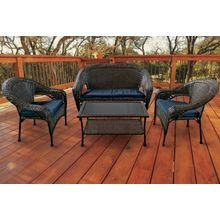 4  Piece Patio Wicker Set Cushioned W/Table