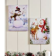 LED Lighted Snowman Canvas Wall Décor
