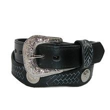 Girls' Leather Western Belt with Conchos