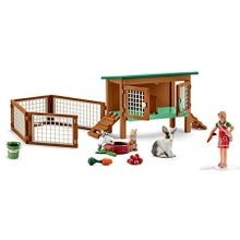 Rabbit Hutch with Rabbits & Feed Figurine Set