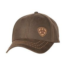 Men's Brown Oilskin Offset Logo Velcro Back Cap