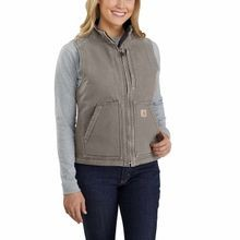 Ladies' Washed Duck Sherpa Lined Vest