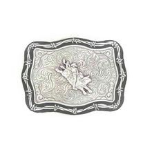 Men's Rectangle Bull Rider With Barbed Wire Border Belt Buckle