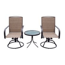 3-Piece Swivel Chair Patio Set
