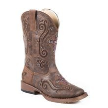 Little Girls' Bling Square Toe Faux Leather Cowgirl Boot