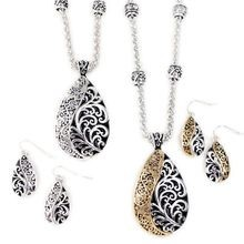 Silver Eden Pear Necklace and Earring Set