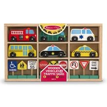 Wooden Vehicles & Traffic Signs with 6 Cars & 9 Signs