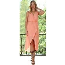 Ladies' Sleeveless Sheer Wrap Dress in Peach