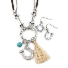 2-Tone Tassel and Bit Necklace Set