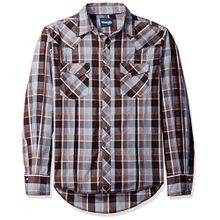 Men's Two Pocket Snap Front Western Plaid Long-Sleeve Shirt