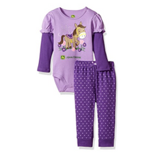 Infant Girls' Horse & Flowers Bodysuit and Pant Set