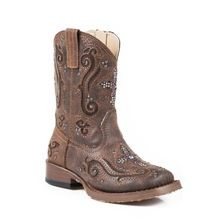 Toddler Girls' Bling Square Toe Faux Leather Cowgirl Boot