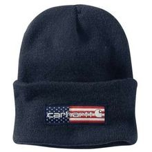 Men's Flag Patch Navy Acrylic Watch Hat