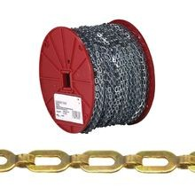 072 3817 Safety Chain, 1/0, 200 Ft L, 35 Lb, Brass
