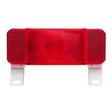LED Low Profile RV Combination Driver Side White Base Tail Lights With License Illuminator