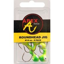 1/4 oz Chartreuse Roundhead Jigs - 8 ct
