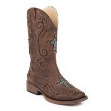 Ladies' Bling Square Toe Faux Leather Cowgirl Boot