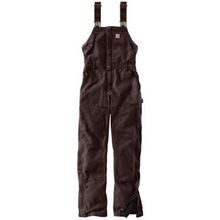 Ladies' Weathered Duck Wildwood Dark Brown Quilt Lined Bib Overalls