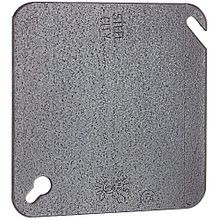 Steel City® 52-C-1 Flat Blank Outlet Square Box Cover, 4 in L x 4 in W, Steel