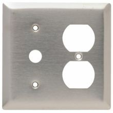 Pass & Seymour® SS128 Combination Cable Access Wallplate, 2 Gangs, 4-1/2 in L, 302/304 Stainless Steel, Wall Mount