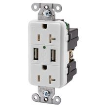 Hubbell, USB Charger Receptacle, 125 Volts, Duplex, 20 Ampere, 2 Poles, 3 Wires, 5-20R, White, RTP