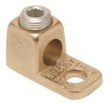 BURNDY® KA Mechanical Terminal Lug, 4 to 1/0 AWG Stranded Copper Conductor, 3/8 in Stud, 1 Bolt Hole, Copper
