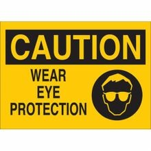 Brady® 25909 Rectangle Eye Protection Sign, 10 in H x 14 in W, Black on Yellow, Surface Mount, B-401 Plastic