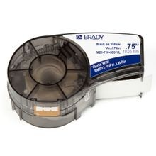 Brady® M21-750-595-YL Label Marker Cartridge, 21 ft L x 3/4 in W, For Use With BMP21, ID PAL and LAB PAL label Printers