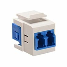 Leviton® 41085-SLW Duplex Fiber Optic Adapter, LC Connector, Snap-In Mount, Tool-Free Plug-n-Play Installation