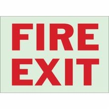 Brady® 90630 Rectangular Fire & Exit Sign, 10 in H x 14 in W, Red on Green, Surface Mount