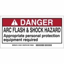 Brady® 103531 Laminated Rectangle Arc Flash Protection Label, 2 in H x 4 in W, Red/Black on White, Self-Adhesive Mount