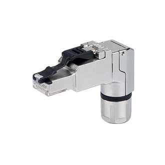 Rj45 Ethernet Connector - 4x90 Cat.6a 360°shielded Field Wireable 90° Modular Plug With Compression Nut