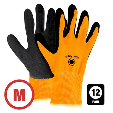 Hi-Vis Nylon Foam Latex Dip Glove Medium - 12 Pairs Per Bag