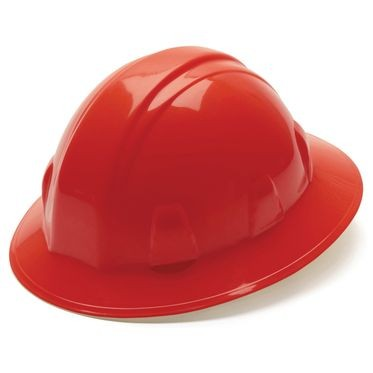 Red 4-Point Ratchet Full Brim Hard Hat
