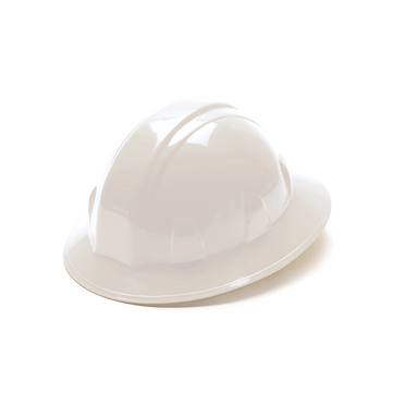 White 4-Point Ratchet Full Brim Hard Hat