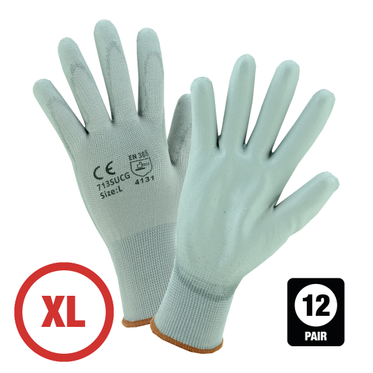 Gray Polyurethane Coated Nylon Glove XL - 12 Pairs Per Bag
