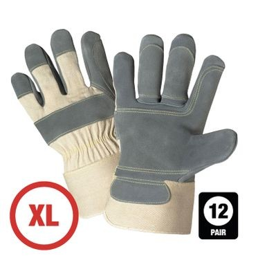 Side Split Cowhide Leather Double Palm Glove XL - 12 Pairs Per Bag