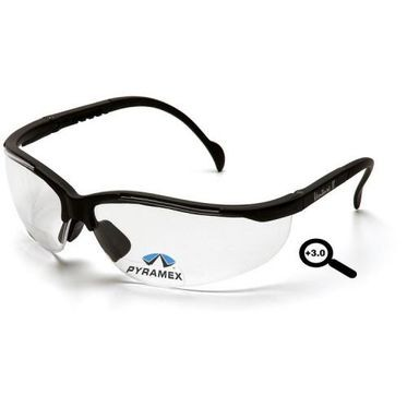 Venture II Readers Clear +3.0 Lens/Black Frame Safety Glasses