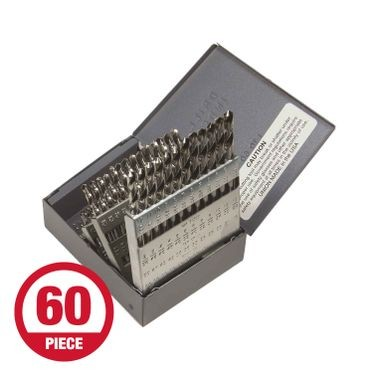 Heavy Duty Number Metal Drill Bit Set - 60 Pieces