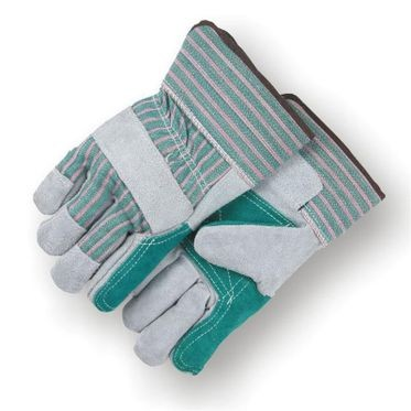 Glove Leather with Green Double Palm Large