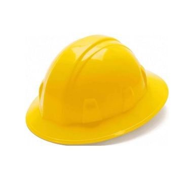 Yellow 4-Point Ratchet Full Brim Hard Hat