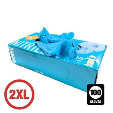 Disposable Powder Free Nitrile Glove 2XL - 100 Gloves Per Box